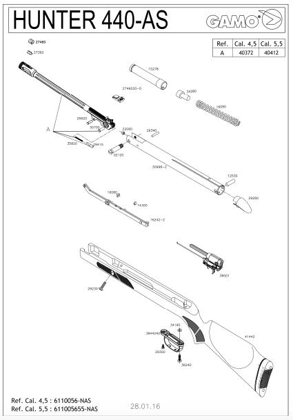 vue éclatée de la carabine hunter 440 de gamo